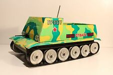 VINTAGE RARE USSR MOVING LITHO TIN TOY MILITARY ARMOURED TANK VU-3377