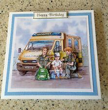 "Handmade Birthday 3D decoupage card ambulance paramedic humourous 6"" x 6"""
