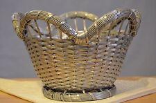 Vintage woven metal  basket round scalloped silve plate ? Vannerie de Metal ?