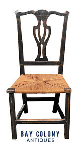 18TH C ANTIQUE NEW ENGLAND COUNTRY PRIMITIVE CHIPPENDALE SIDE CHAIR W/ RUSH SEAT
