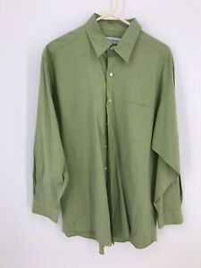 Brooks Brothers Mens Shirt Button Front Size 16 1/2 32/33 Green Stretch