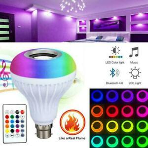 RGBW LED Smart Light Bulbs 12W Bluetooth Colour Speaker with Music Lamp E4Y6