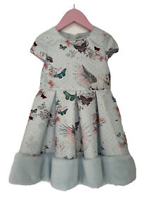 Baker By Ted Baker Girls Unicorn Faux Fur Trimmed Dress, Age 4-5, VGC!!
