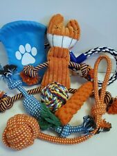 Set of 7 puppy rope toy/ puppy plush squeak toy/ small dog toy set