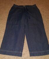 J Jill Stretch 4 Petite, Cropped Capri Jeans Dark Wash