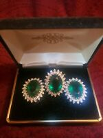 18KT GE ring and clip earrings HUGE green stones & small clear stones