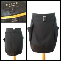 Ted Baker Size 1 UK 8 Black Belted Short Skirt Pockets Button Back Party