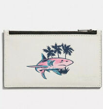 NWT - COACH Hawaii Shark Zip Card Case Mini Wallet in Chalk Style F29271