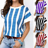 Womens Striped Round Neck T Shirt Short Sleeve Summer Casual Loose Blouse Top US