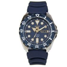 Seiko 5 Sports SRP605 J2 Silver Blue Dial Rubber Strap Men's Automatic Watch