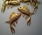 6 large brass fish stampings, left and right
