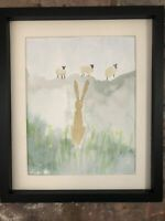 Little Hare Watching Sheep, Original Signed Watercolour, Vintage, Cottage, Gift