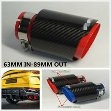 63MM IN-89MM OUT Universal Carbon Fiber Glossy Car Exhaust Muffler Tips Pipe Red