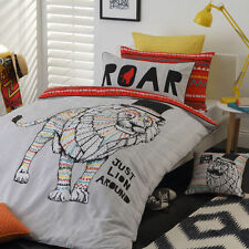 LEO LION ORANGE ANIMAL REVERSIBLE DOUBLE bed QUILT DOONA COVER SET NEW