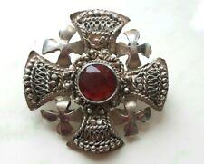 Real Vintage 925 Silver Gothic Cross/Cruciform Knights Templar Pendant & Brooch