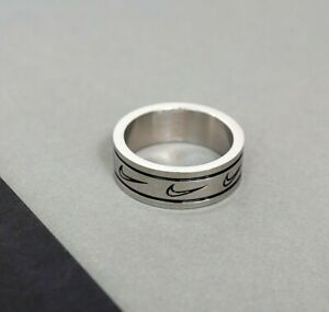 Silver Nike Ring With Outline Repeat Logo Made From Stainless Steel For Him