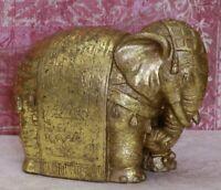 Vintage Gold Painted Wood Indian Elephant Figurine