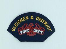 "Vintage Gleichen & District Alberta  Canada Fire Department 4"" Embroidered Patch"