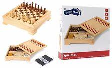 Scatola in legno con scacchi scacchiera dama backgammon domino carte dadi poker