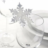 SNOWFLAKE PLACE NAME CARDS FOR GLASS -Christmas/Winter Wedding Table Decorations