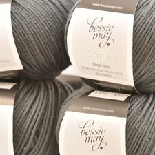 100% Extra Fine Merino Double Knit Hand Knit Wool ~ Bessie May SMILE in Grey