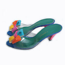Vintage 60s Clear Lucite Mod Bow Sandals 7 8 Dress Heels Shoes Disco Hippie Ny