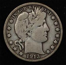1913 Barber Half:  problem-free Fine, low mintage, scarce this nice