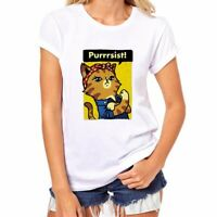 PURRRSIST! Printed Funny WOMEN T-shirts Cotton Short Sleeve Tops Tees