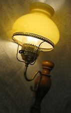 Vintage Antique Wall Lamp - Brass, Wood and Amber Glass Shade