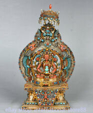 10.8 inch Old Tibet Silver Filigree Coral Gem Amitayus Longevity Goddess Statue