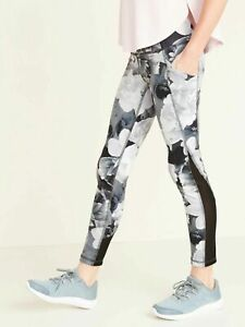 Old Navy Active Girl's Black Floral Elevate Legging Pants NWOT Sz. M Medium 8