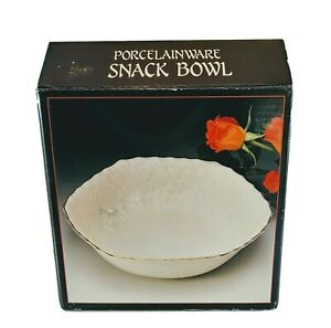 Porcelain Snack Bowl Porcelainware NIB Ivory Gold