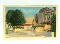 Springfield Illinois Abraham Lincoln Statue Capitol Grounds Vintage Postcard
