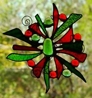 ' CHRISTMAS STAR ' Abstract Hand Made Stained Glass SUNCATCHER Gifts Under $40