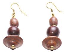 Vintage- Triple Circular Wooden Stack & Golden Droplet Earring(Zx107)