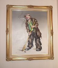 """Emmett Kelly """"Pickin' up """" Limited Edition S/N 146/250 Oil On Canvas"""