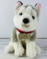 "FAO Schwarz Husky Plush 10"" Tall Puppy Stuffed Animal Grey White Red Collar"