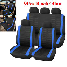 Blue 3MM Sponge & Polyester Car Seat Covers Car Accessories Front Rear 9Pcs/Set