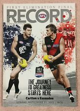 CARLTON V ESSENDON AFL 2011 1ST ELIMINATION FINAL RECORD BLUES V BOMBERS MCG
