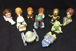 Star Wars Bobble Head Wind Up Fast Food Toys McDonald Burger King 11 Piece
