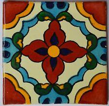 """90 Tiles 4x4"""" Handmade Ceramic Tile Mexican Folk Art C329"""