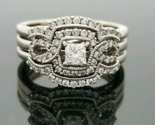 1.60CT Princess & Round Cut Diamond Art-Deco Vintage Trio Ring Set in 925 Silver