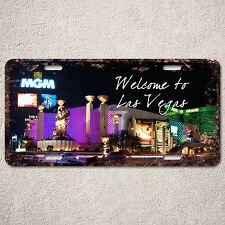 LP315 Welcome to Las Vegas Sign Rust Vintage Auto License Plate Home Store Decor