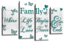 Large Family Quote White Grey Teal Canvas Wall Art Picture Print 4 Panel Split 9