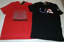 ~2 NWT Boys UNDER ARMOUR Short Sleeve Shirts! Size YMD Loose Fit Nice:)!
