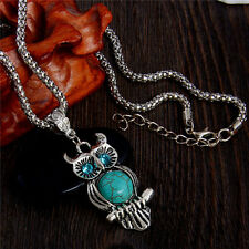 Fashion Vintage Blue Turquoise Charm Cute Owl Pendant Woman Necklace Jewelry