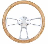 """Falcon Thunderbird Galaxie Steering Wheel Oak Wood w/rivets Billet 14"""" Plain Cap"""