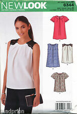 NEW LOOK SEWING PATTERN 6344 MISSES 8-20 TOPS W/ NECKLINE PLEATS & SLEEVE OPTION