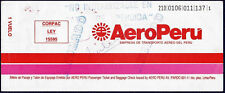 AEROPERU AIRLINES PERU AVIATION PASSENGER TICKET ONE FLIGHT