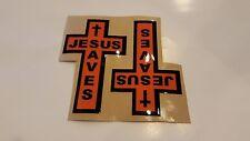 "Jesus Saves Cross Stickers Black Orange  3.25"" x 5.25"" Set of 2"